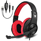Gaming headset SL-300 with mic for PS4, Xbox one, PC, Computer, EZONE Noise Cancelling Over Ear Headphones with Microphone, Surround Sound, Volume Control, Soft Memory Earmuffs (Red) (Color: Red)