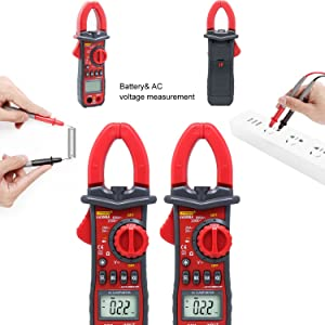Digital Clamp Meter Testing,UYIGAO 6000 Counts Auto-ranging Multimeter with AC/DC Voltage, Resistance, AC Current, Diode Test, Build in Flashlight and