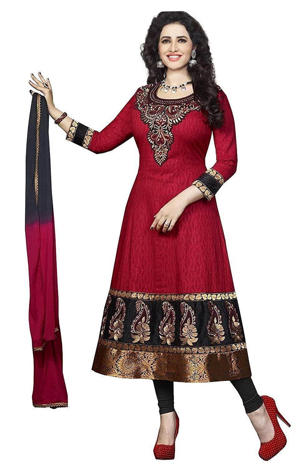 40-80% Off On Women's Fashion By Amazon | Divyaemporio Women'S Cotton Resham Anarkali Unstitched Salwar Suits Dress Material (Red_Free Size) @ Rs.499