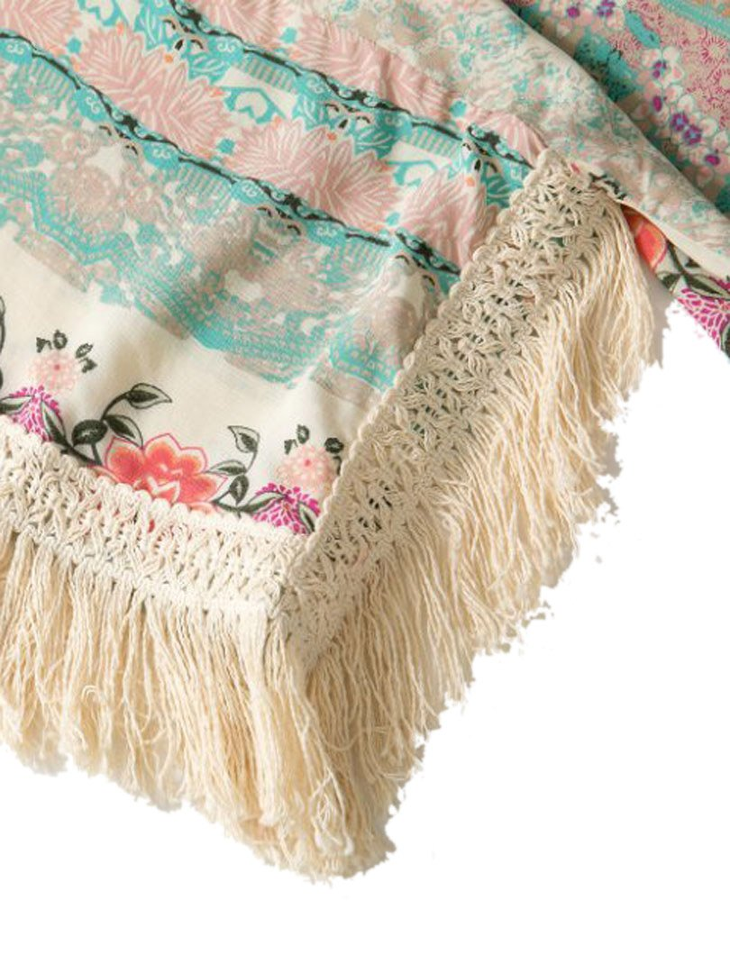 Persun Women Vintage Floral Fringe Kimono Cardigan Jacket Blouse 3