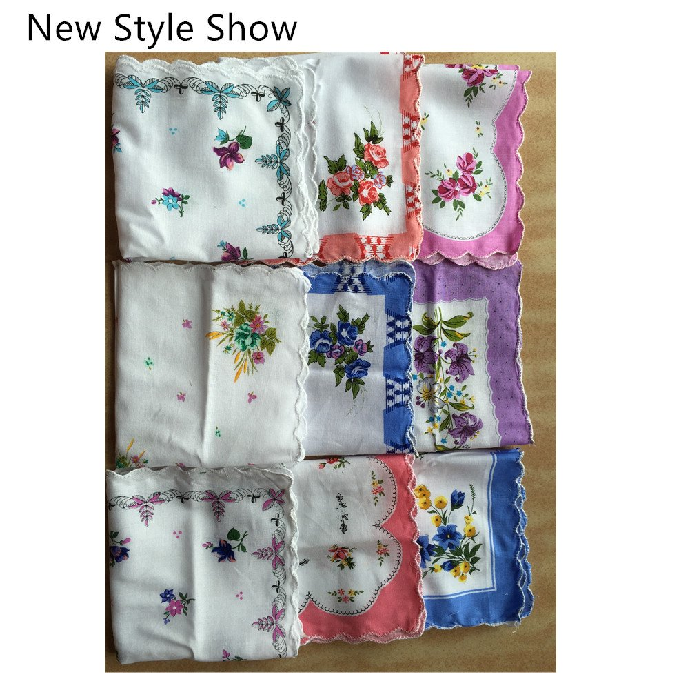 FTSUCQ Womens/Girls Vintage Multi Floral Wedding Party Cotton Handkerchiefs 2