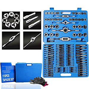 110 Piece Combination Tap and Die Set Alloy Steel 55°- 60° Metric Tools with Carrying Case + Free Glove Amazing Tour (Tamaño: 110 Pcs Tap and Die Tools Set)
