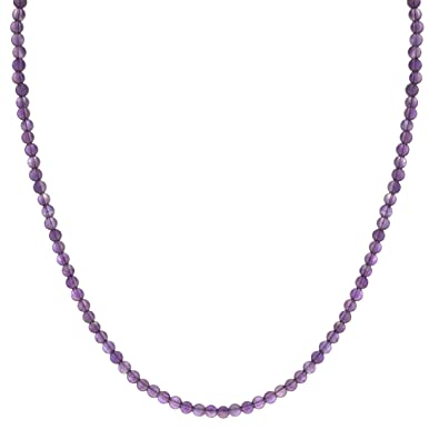 Sterling Silver Genuine Amethyst Beaded Necklace (4mm), 16+2″ Extender ,$7