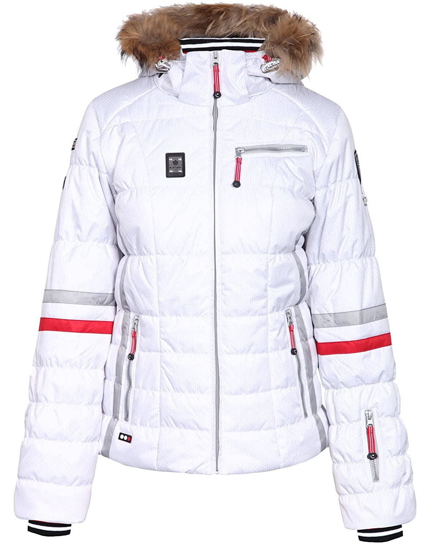 ICEPEAK Winterjacke, Damen Skijacke, CARLY, weiß/creme, Echtpelz