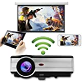 Home HD LED Wireless Projector 1280X800 Native Support 1080p 3500 Lumens LCD Android Wifi Movie Theater Projector HDMI USB VGA AV TV Audio Out for Apple iPhone Mac iPad Smartphone DVD Games Outside (Color: Wifi Home Projector WXGA,3500LM)