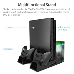 Linkstyle PS4 Vertical Stand with 3 Cooling Fan, Dual Charger Port and Game Storage,Dual Charging Station for PS4 Slim/PRO/Regular Playstation 4 . (Tamaño: PS4 Vertical Stand)