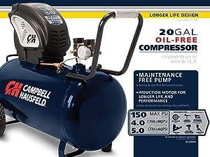 Air Compressor, Portable, Horizontal, 20 Gallon, Oil-Free, 4 CFM @ 90 PSI, 150 PSI (Campbell Hausfeld  DC200000) (Color: Blue, Tamaño: 20 Gallon)