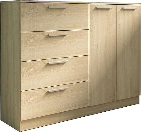 Trasman 1033roble Kommode mit 4 Schubladen und 2 Turen, melaminharzbeschichtete Holzspanplatten, bardolino eiche, 120 x 43 x 120 cm