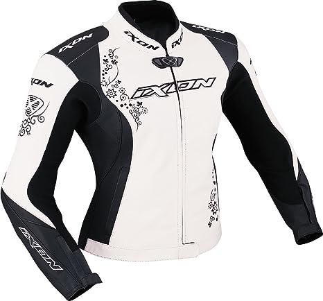 Ixon - Prima Vx Blouson Cuir Femme Noir/Blanc - Taille : S