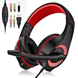 Gaming Headset, 3.5mm Wired Game Headphone Earphone with Mic Surround Stereo Bass,Noise Reduction, LED Light, for PS4 New Xbox One Nintendo Switch PC Computer Laptop Mobile Phones (Red)