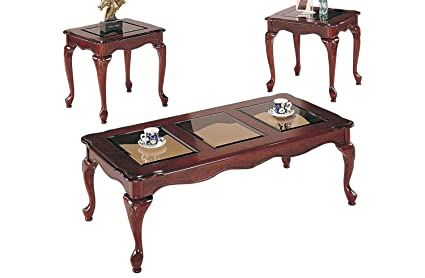 3pcs Cherry Finish Queen Anne Style Coffee Table and End Table Set By Poundex