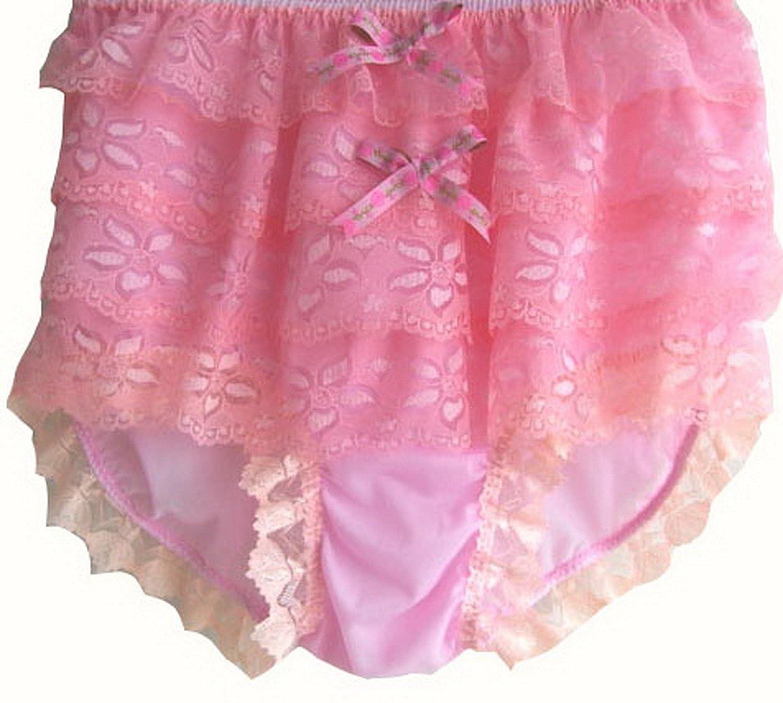 Frauen Handgefertigt Schlüpfer Neu US9H9 Pink Briefs Nylon Panties Knicker Lacy günstig online kaufen