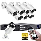 DEFEWAY 16 Channel 1080P HD Security Camera System, 8 x 1080P Outdoor Waterproof Surveillance Cameras, Smartphone Remote Monitoring (Color: 1080P-16CH-8CAMS, Tamaño: 1080P Security Camera System)