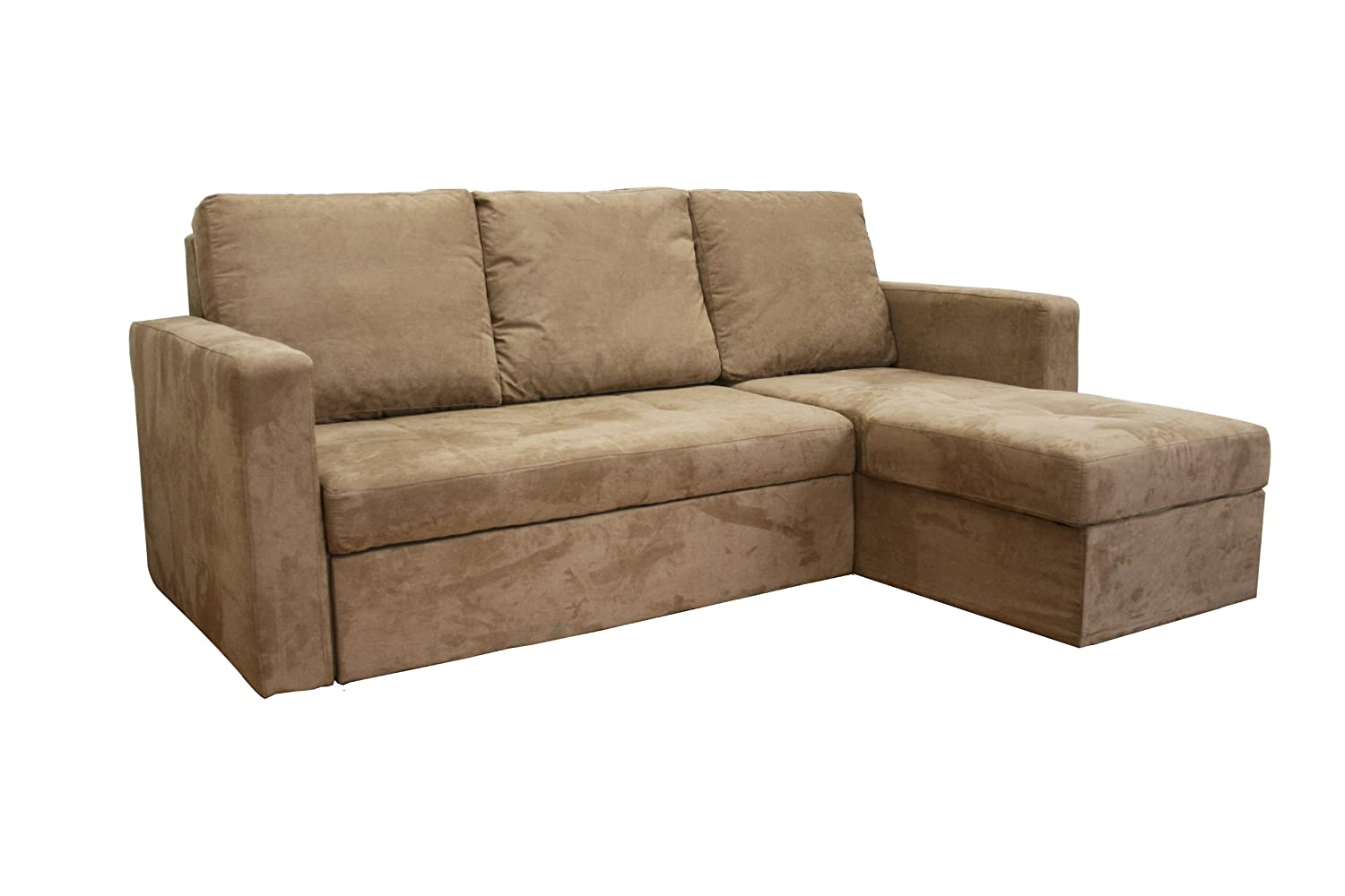 Linden Tan Microfiber Convertible Sectional /Sofa Bed