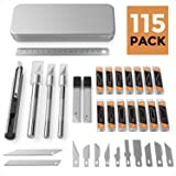 Nicpro 115 PCS Exacto Knife Set 3 Hobby Art Knife with 110 Various Size Blades,Rule and 9mm Utility Knife for Art Carving Craft Office (Color: Various Size Knife Set)