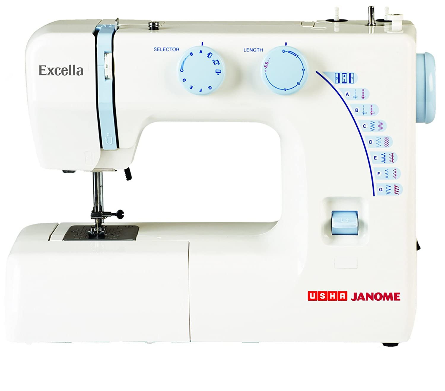 Usha Janome Excella Automatic 80-Watt Zig-Zag Sewing Machine