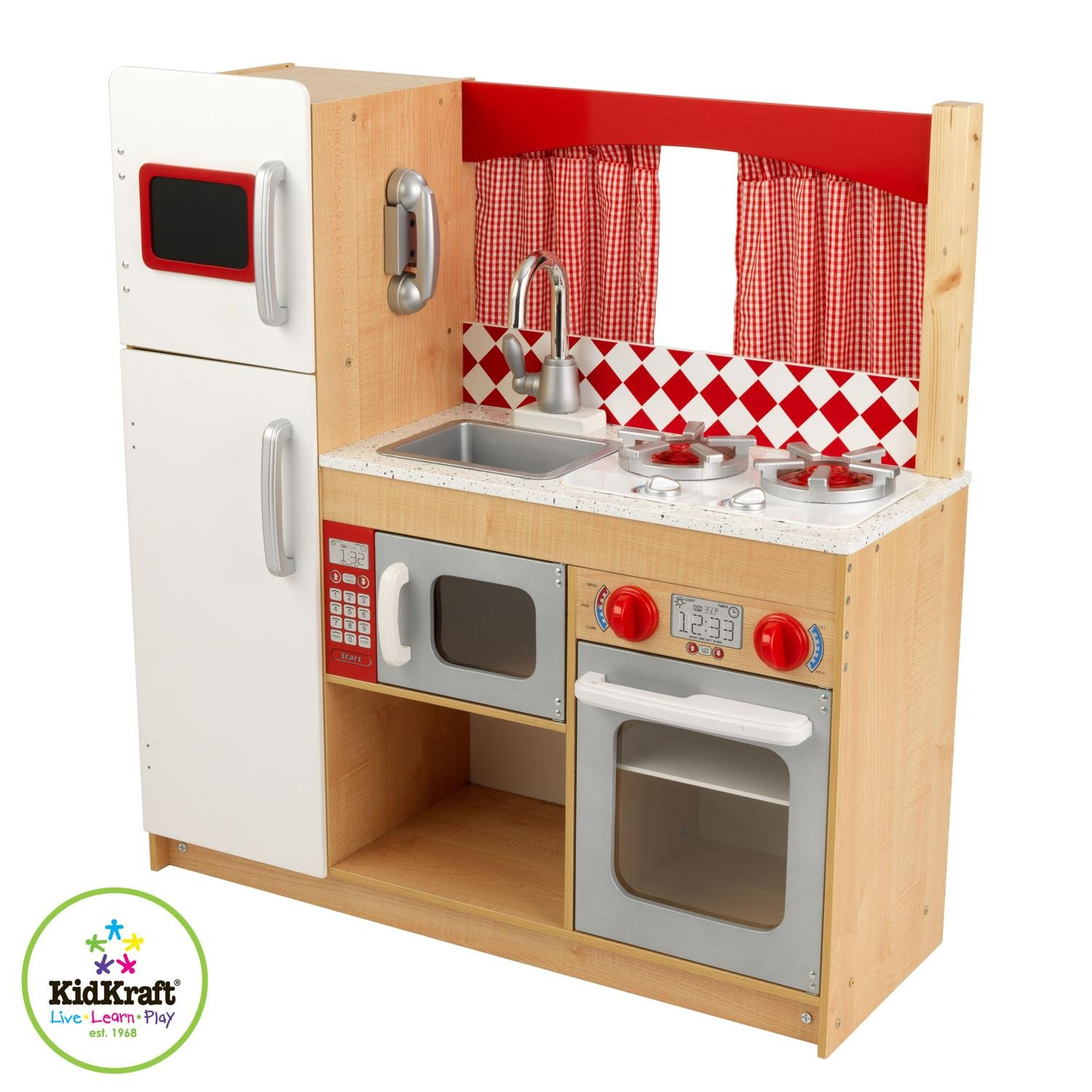 Wood vs electronic plastic play kitchen babycenter for Kitchen set wooden