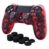 Skin Compatible for PS4 Controller Pandaren Anti-Slip Silicone Cover Skin PS4 Grip Set for PS4 /Slim/PRO Controller(Red Skull Controller Skin x 1 + FPS PRO Thumb Grips x 8) (Color: Red Skull, Tamaño: PS4)