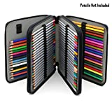 BTSKY Deluxe PU Leather Pencil Case For Colored Pencils - 120 Slot Pencil Holder (Black) (Color: Black)