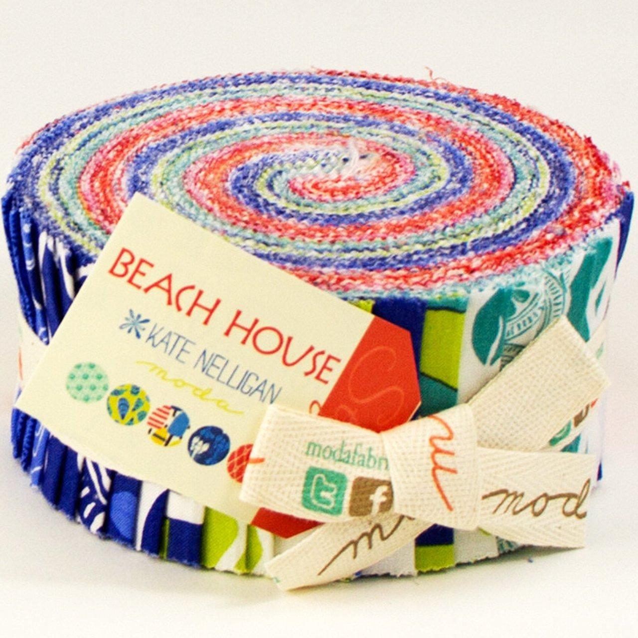 Beach House By Kate Nelligan Moda Jelly Roll, Set of 40 2.5x44-inch (6.4x112cm) Precut Cotton Fabric Strips beach house