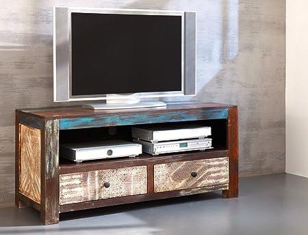 Lowboard Punjab 130x60x55 cm Akazie Metall TV-Möbel TV-Schrank Used Look Vintage