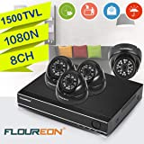 FLOUREON House Camera 8CH 1080N AHD CCTV DVR House Security System 5 in 1 TVI + 4 X 1500TVL 720P 1.0MP Dome Indoor/Outdoor Camera Surveillance Security for Home/Apartment/Office/Factory/Store (Color: 8CH DVR+1500TVL Camera Model 2, Tamaño: 8CH+ 2000TVL Dome)