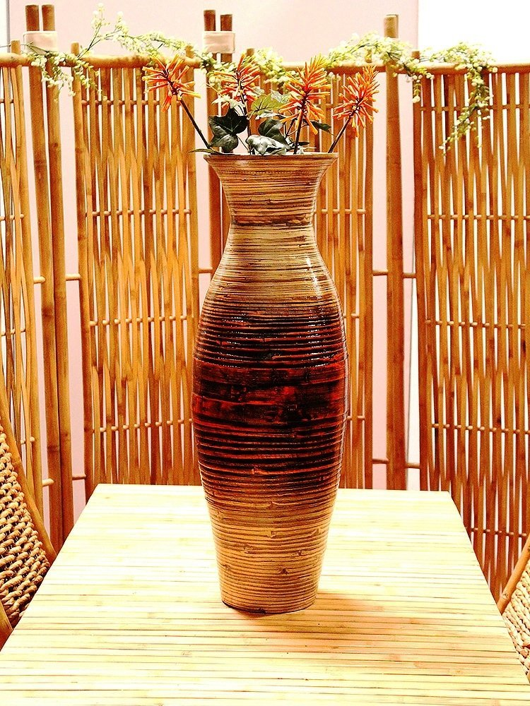 Tall Modern Spun Bamboo Decorative Floor