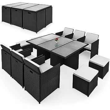 Poly Rattan Sitzgruppe 27tlg Sitzgarnitur Gartengarnitur Rattanmöbel Cube
