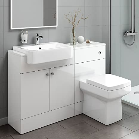 Premium Gloss White Vanity Basin Unit + Back to Wall Toilet Storage Furniture Set MV2001