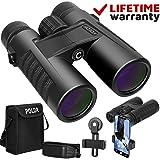 POLDR 10x42 Powerful Full-Size Binoculars for Adults, Waterproof Compact HD Binoculars for Hunting Concerts Bird Watching Travel Hiking BAK4 Prism FMC
