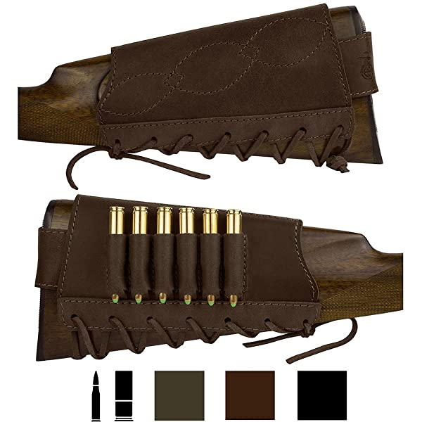 BronzeDog Adjustable Leather Buttstock Cartridge Ammo Holder for Rifles 12 16 Gauge or .30-30 .308 Caliber Hunting Ammo Pouch Bag Stock Right Handed Shotgun Shell Holder (Brown, 7.62 Caliber) (Color: Brown, Tamaño: 7.62 caliber)