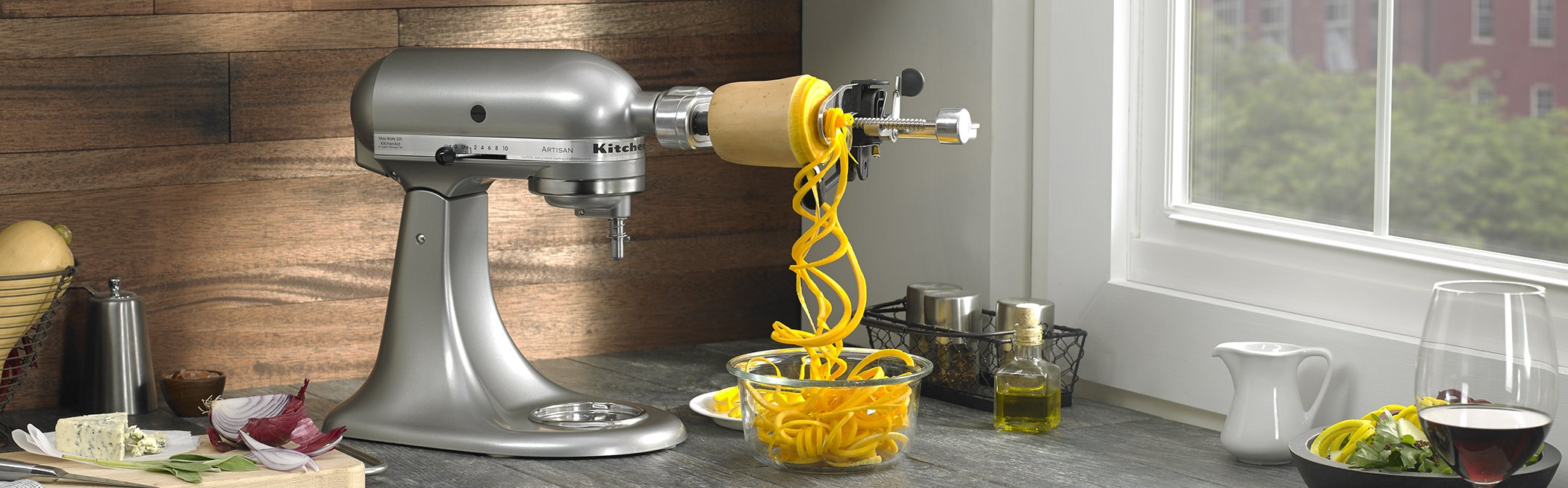 Galleon kitchenaid ksm1apc spiralizer attachment with peel core and slice Kitchenaid artisan replacement parts