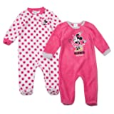 Disney Minnie Mouse Footie Pajamas - Minnie Mouse Baby Girls Footie Sleeper - 2 Piece Set (Pink/Pink Dots, 3M-6M) (Color: Pink/Pink Dots, Tamaño: 3M-6M)
