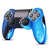 TNP PS4 / Slim / Pro Controller Skin Grip Cover Case Set - Protective Soft Silicone Gel Rubber Shell & Studded Anti-slip Thumb Stick Caps for Sony PlayStation 4 Controller Gaming Gamepad (Camou Blue) (Color: Camou Blue)