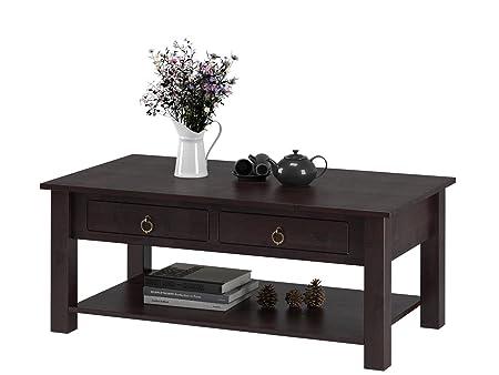 Großer Wohnzimmertisch Beistelltisch Kaffeetisch Holztisch Couchtisch ILONA 110 x 60 cm mit Schubladen, Kiefer massiv, havanna dunkel braun