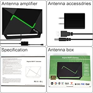 4K HDR HDTV Antenna Indoor//Outdoor Antenna with Amplifier Booster Free Digital TV Channels for VHF//UHF//1080P//4K//FM Signals Fire TV Stick 16ft 138+Miles HD TV Antenna Amplified Upgraded 2020