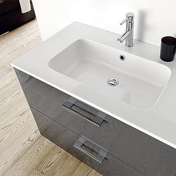 Mobile bagno con lavabo moderno Atlantide Antracite Lucido_Mobile bagno da 70cm con lavabo in mineralmarmo_Made in Italy