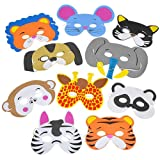 Rhode Island Novelty 097138658326 12 Assorted Foam Animal Masks for Birthday Party Favors Dress-Up Costume, Pack, no
