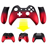 eXtremeRate Red Shadow Soft Touch Front Housing Shell Faceplate Replacement Parts Side Rails Panel for Xbox One Controller W/3.5 mm