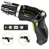 HAWKFORCE 3.5 N.m Power Screwdriver, 3.6V Electric Screwdriver - Flexible Pivoting Head - Adjustable 2 Position Handle - Front LED Light Cordless Screwdriver with Bubble Level (Color: Electric Screwdriver Set)