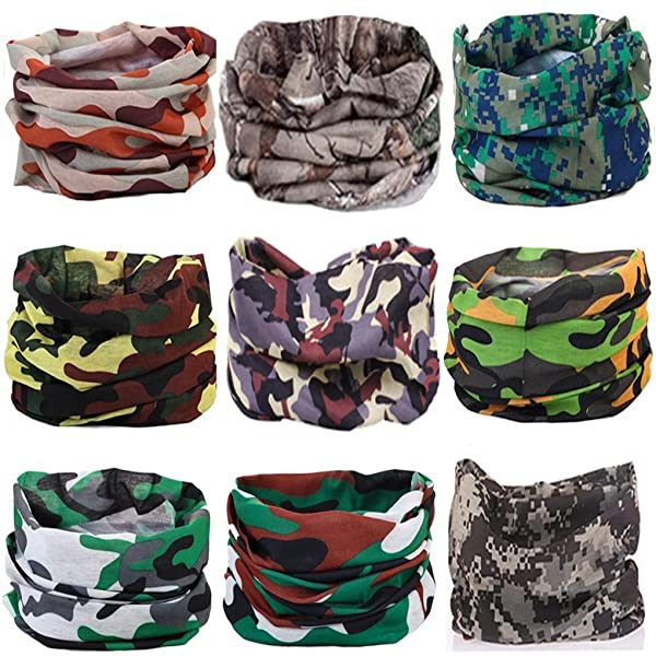 KALILY 9PCS Headband Bandana - Versatile CAMO Sports   Casual Headwear –Multifunctional  Seamless Neck Gaiter ... f104cdb41d87