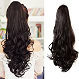 Ponytail Hair Pieces 24 Inch Curly Claw Clip Synthetic Pony Tail Hair Extensions Medium Brown 120 Grams Long Natural Clip in Ponytail Wigs, 4 (Color: #4, Tamaño: 24 inch)