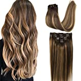 Googoo Hair Extensions Clip in Ombre Chocolate Brown to Honey Blonde Remy Human Hair Extensions Clip in Real Hair Extensions Double Weft Hair Extensions Straight 7pcs 120g 16inch (Color: Ombre Chocolate Brown to Honey Blonde #4/27/4, Tamaño: 16 Inch)