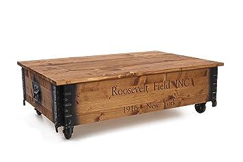 Mesa de centro auxiliar baúl madera Vintage shabby chic Landhaus madera maciza de nogal