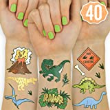 xo, Fetti Dinosaur Temporary Tattoos for Kids - 40 Styles | Birthday Party Supplies, Dinosaur Party Favors, T-rex Decorations (Color: Blue, Green, Brown, Gold, Orange)