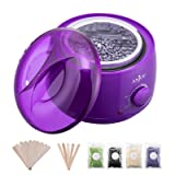 Wax Warmer, Hair Removal Waxing Kit, Anjou Electric Wax Heater with 4 Scents Hard Wax Bean and 15 Wax Applicator Sticks, DIY Depilatory Machine for Arm, Leg and Toe (Color: Purple)