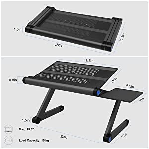 SLYPNOS Adjustable Laptop Stand Folding Portable Standing Desk Ventilated Aluminum Laptop Riser with Front Lip and Detachable Mouse Tray for Desk Bed Couch Floor (Color: Black, Tamaño: 810)