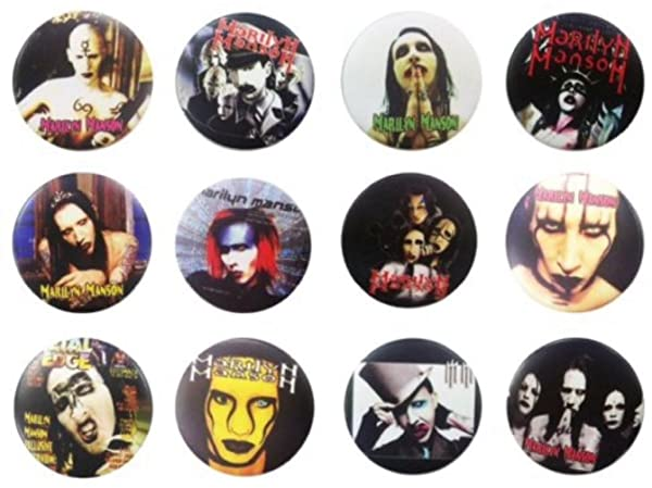 The Bigger Vivider 1.75 Lot 12 Awesome Pin Button MARILYN MANSON MM US brooch 1 (Color: Red, Black, White)