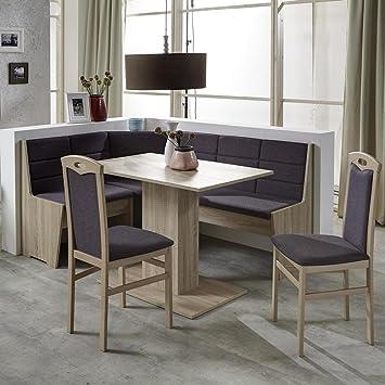 Eckbank Eckbankgruppe Essgruppe FLORENZ Essecke Tisch 2 Stuhle Sonoma Eiche