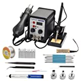 TXINLEI 8586 110V Solder Station, 2 in 1 Digital Display SMD Hot Air Rework Station and Soldering Iron, 12pcs Different Soldering Tips,Solder Wire,Tweezers,Desoldering Pump,700W 480? (Color: Black, Tamaño: Small)